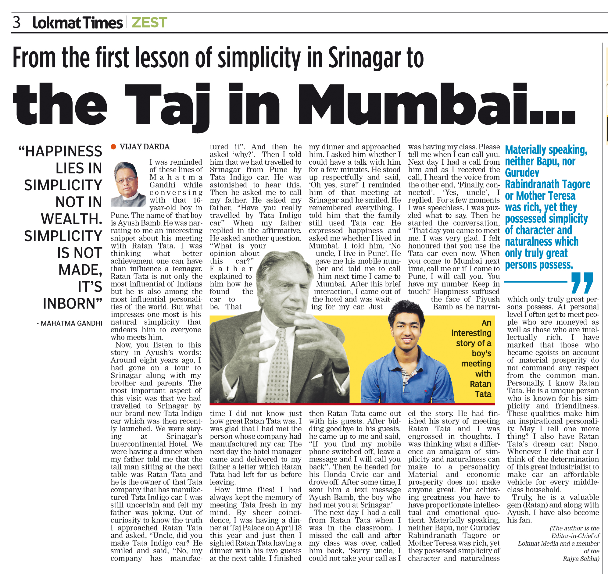 From the first lesson of simplicity in Srinagar to the Taj in Mumbai...