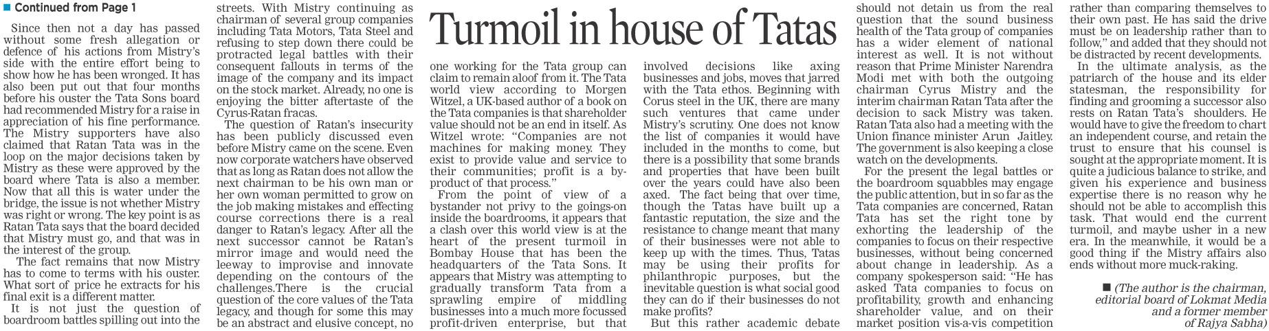 Turmoil in house of Tatas