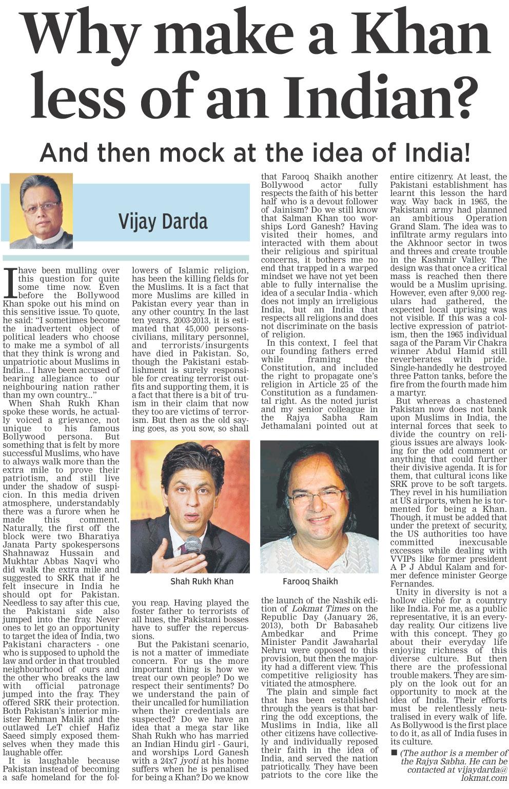 Why make a Khan less of an Indian?