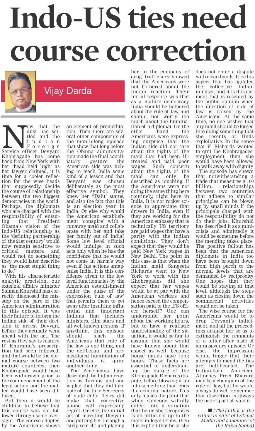 Indo-US ties need course correction