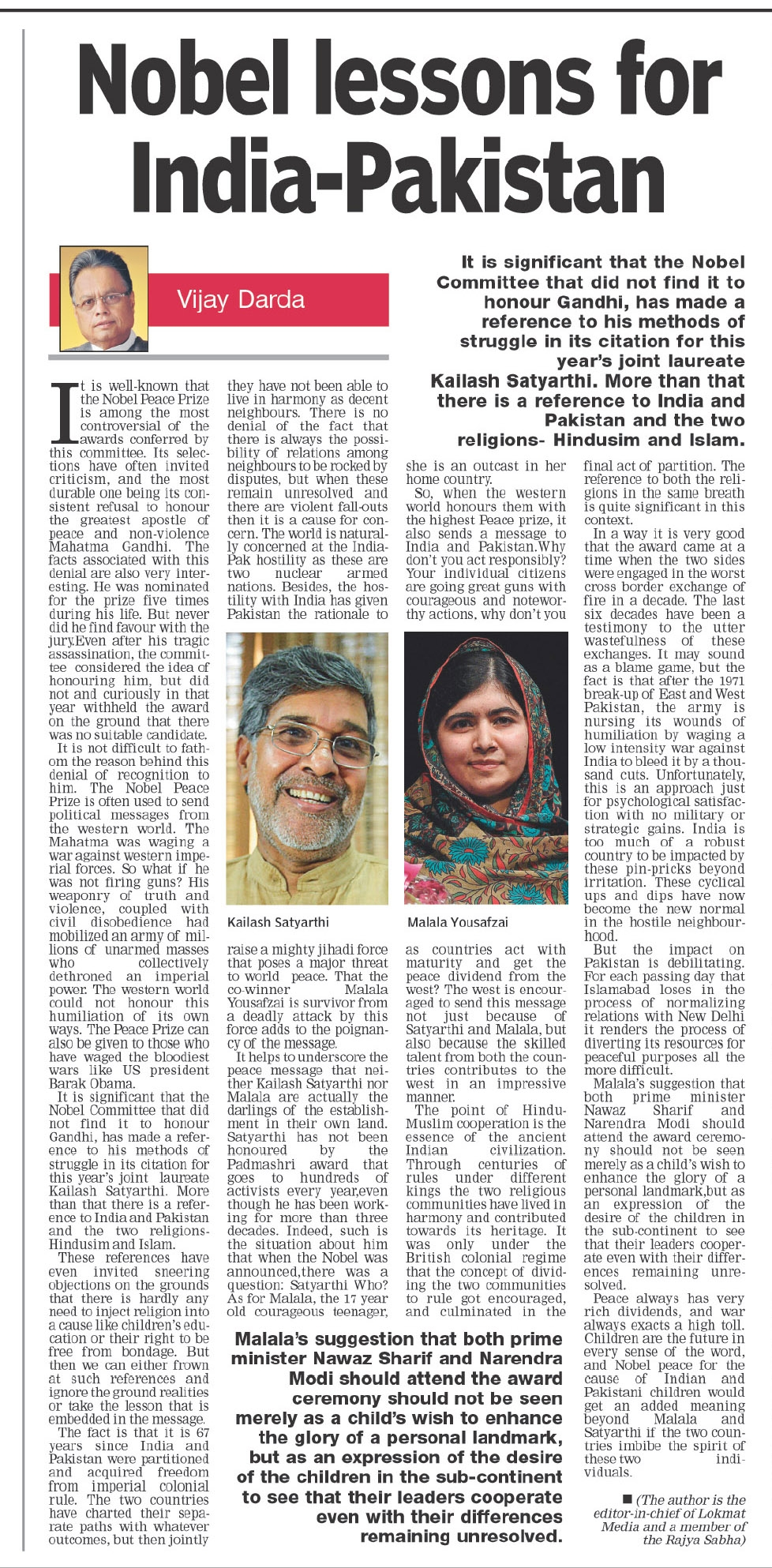 Nobel lessons for India-Pakistan