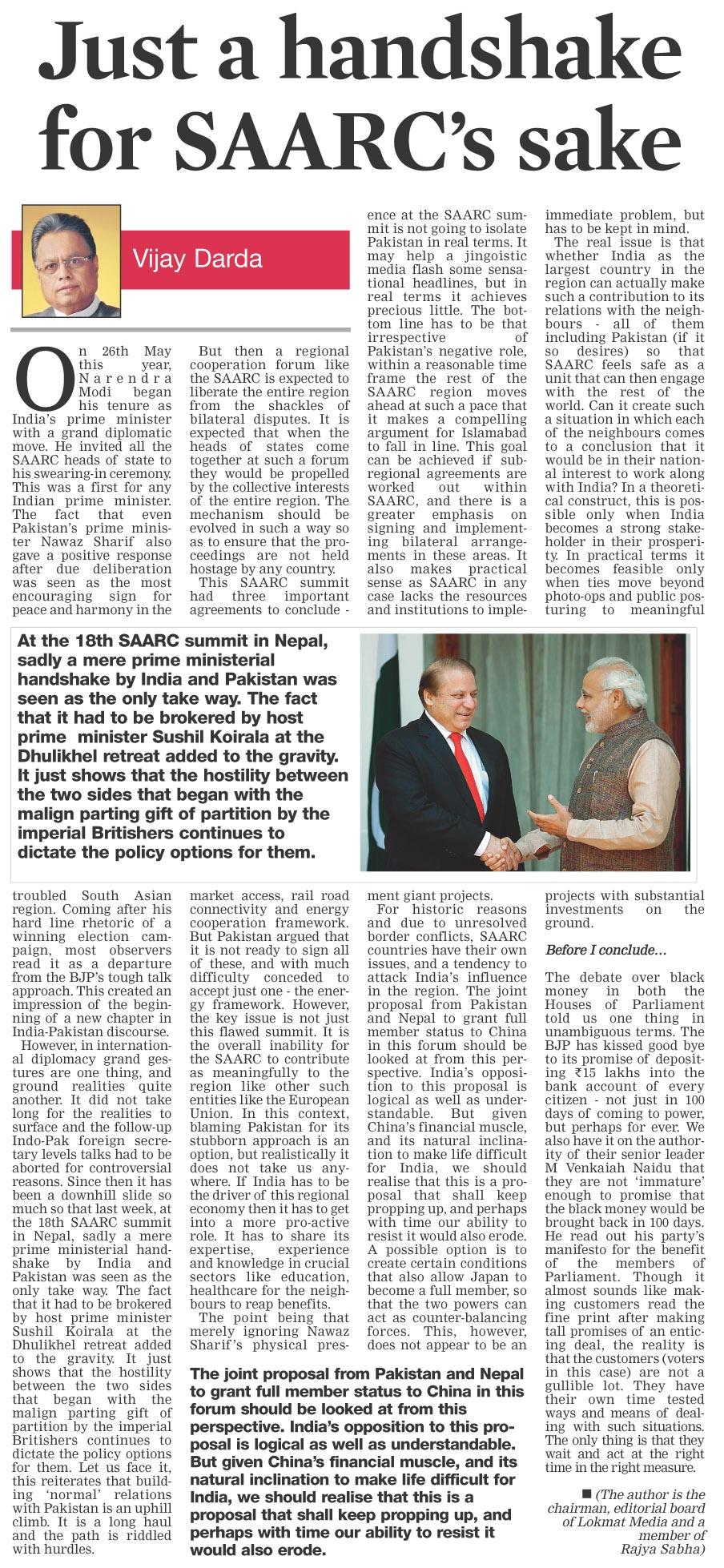Just a handshake for SAARC's sake