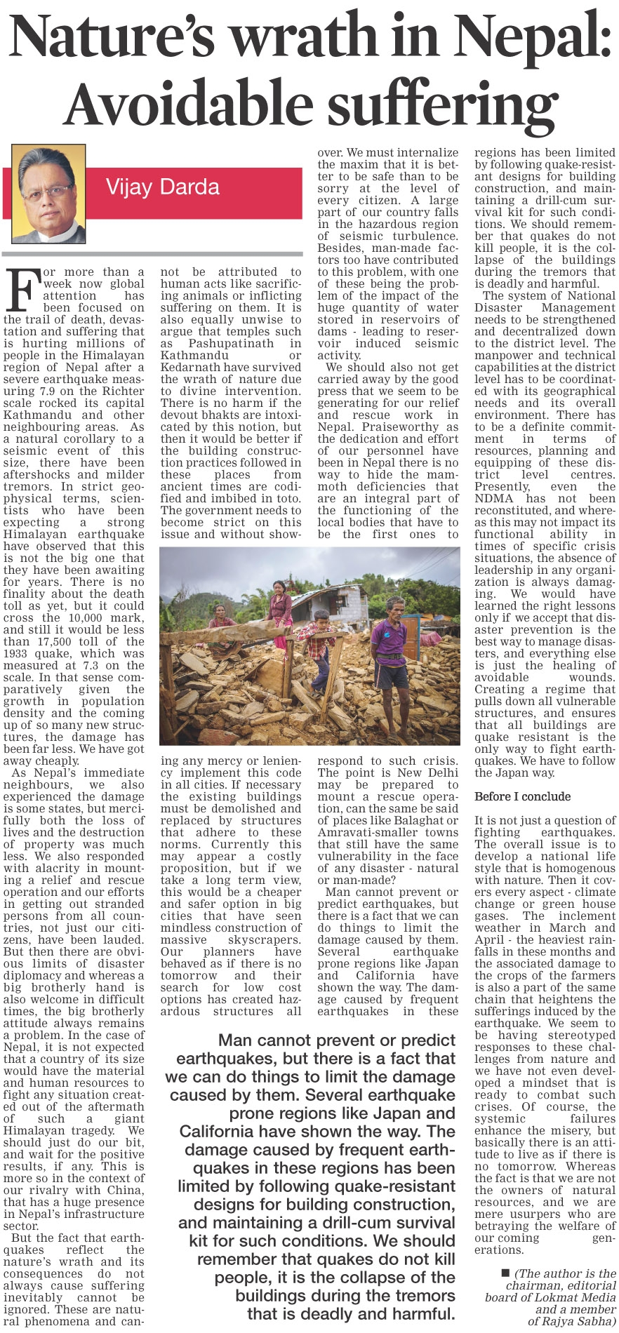 Nature's wrath in Nepal: Avoidable suffering