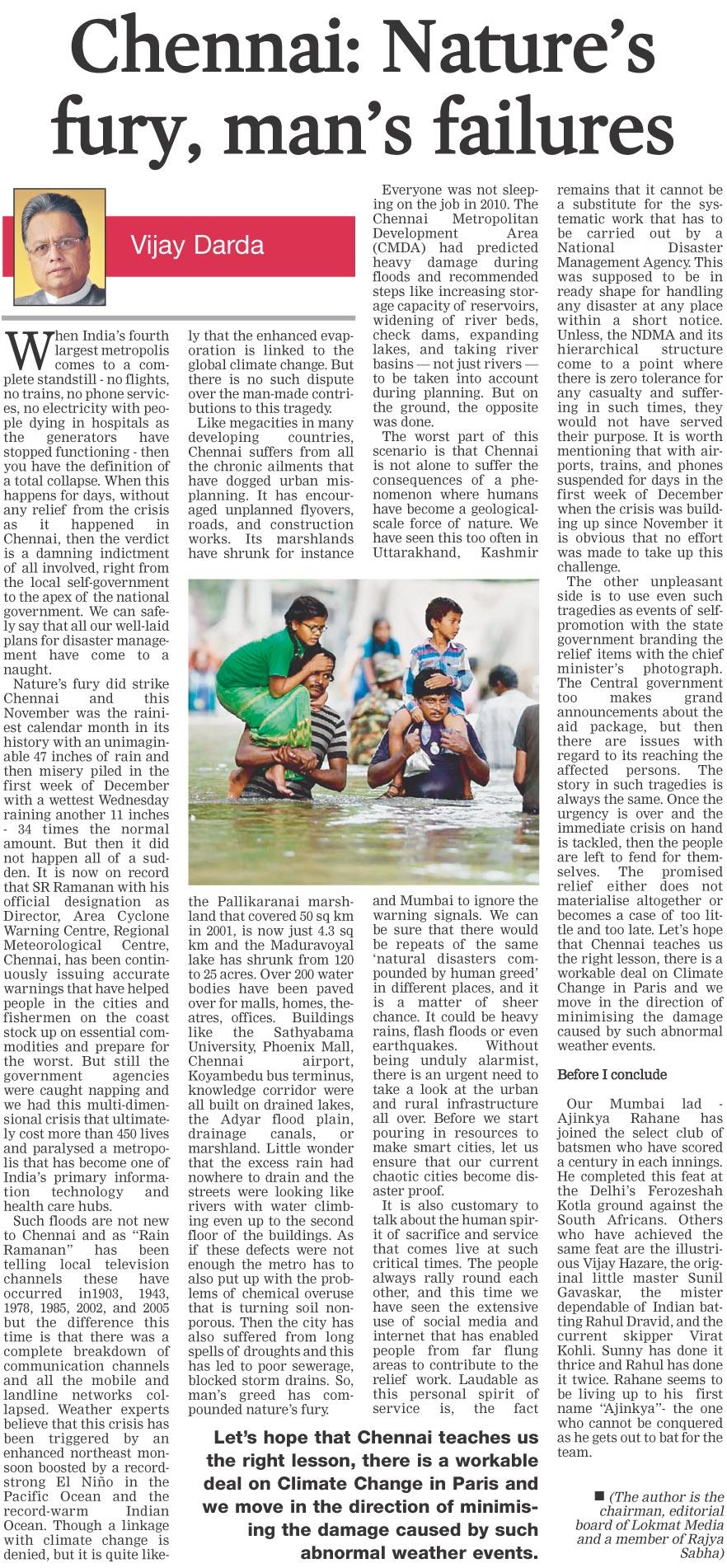 Chennai: Nature's fury, man's failures