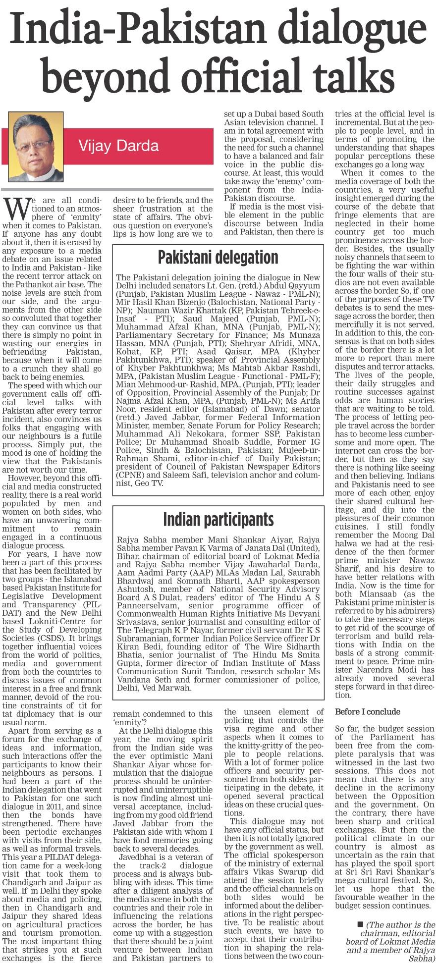 India-Pakistan dialogue beyond official talks
