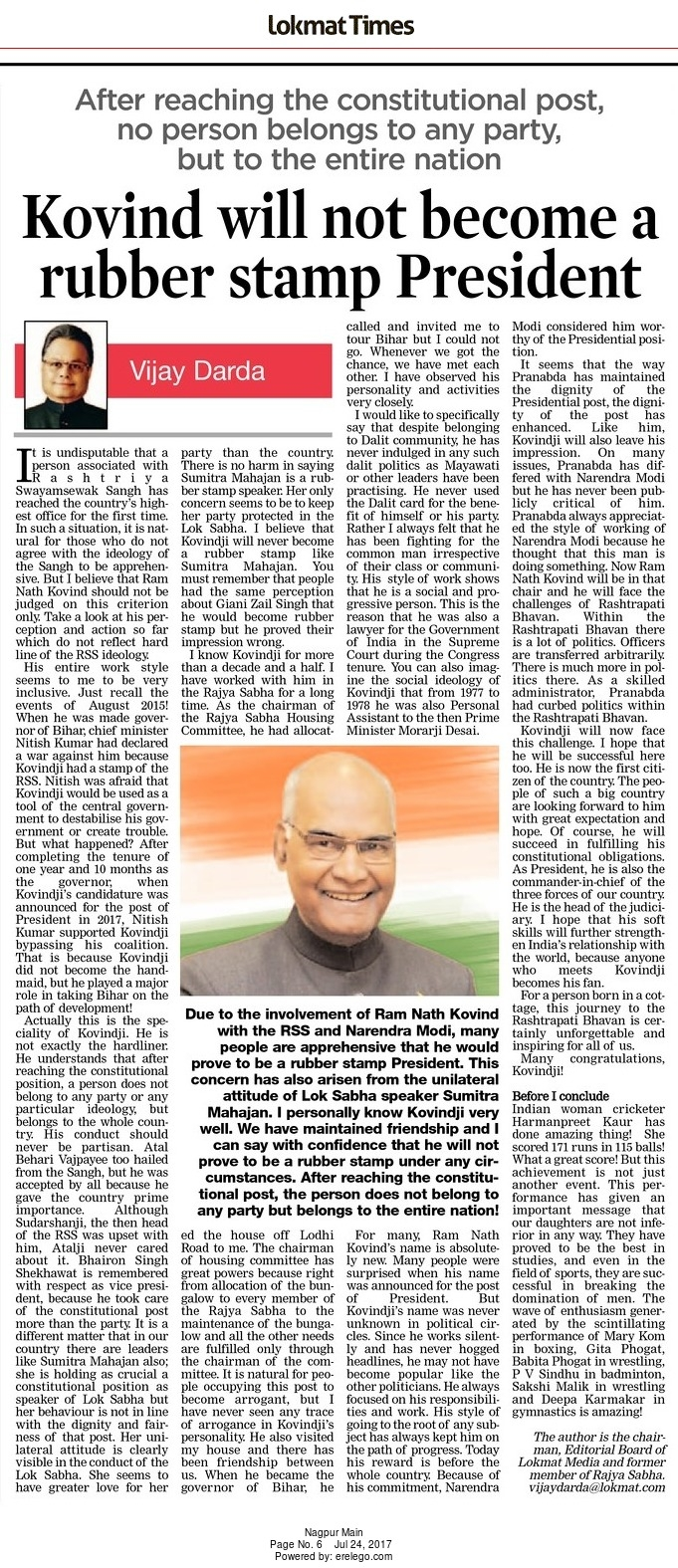 Kovind will not become a rubber stamp President