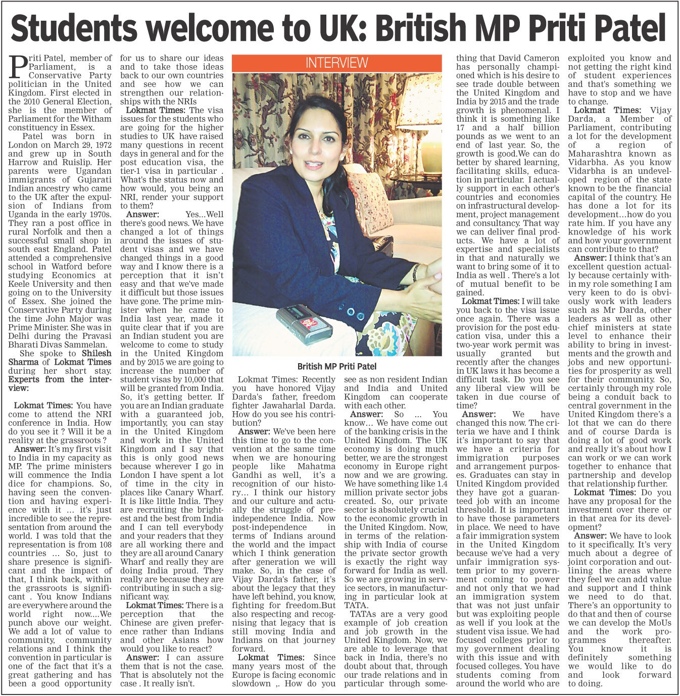 Students welcome to UK: British MP Priti Patel