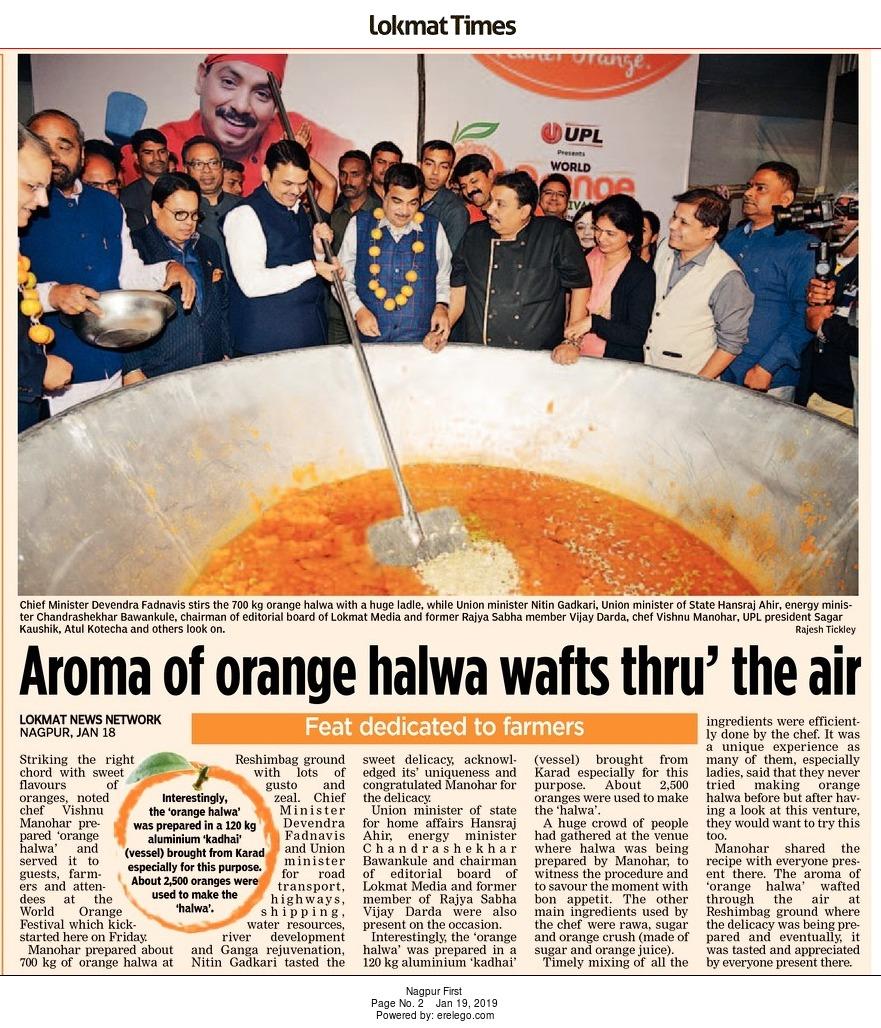 Aroma of orange halwa wafts thru' the air