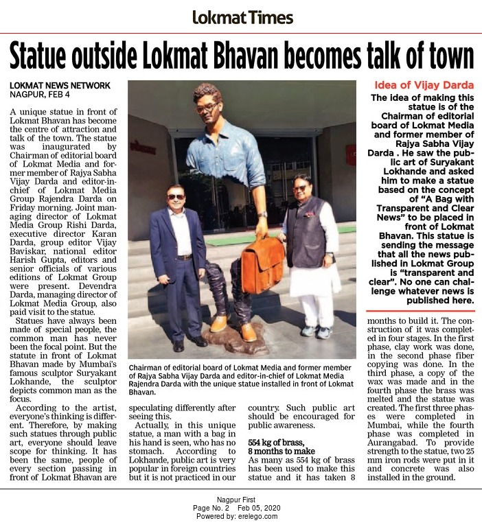 Statue outside Lokmat Bhavan becomes talk to town