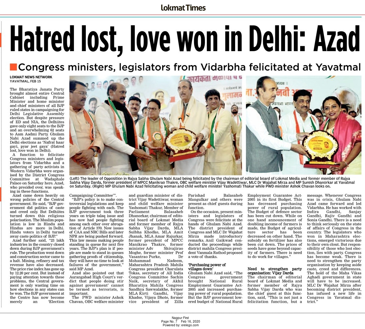 Hatred lost, love won in Delhi: Azad