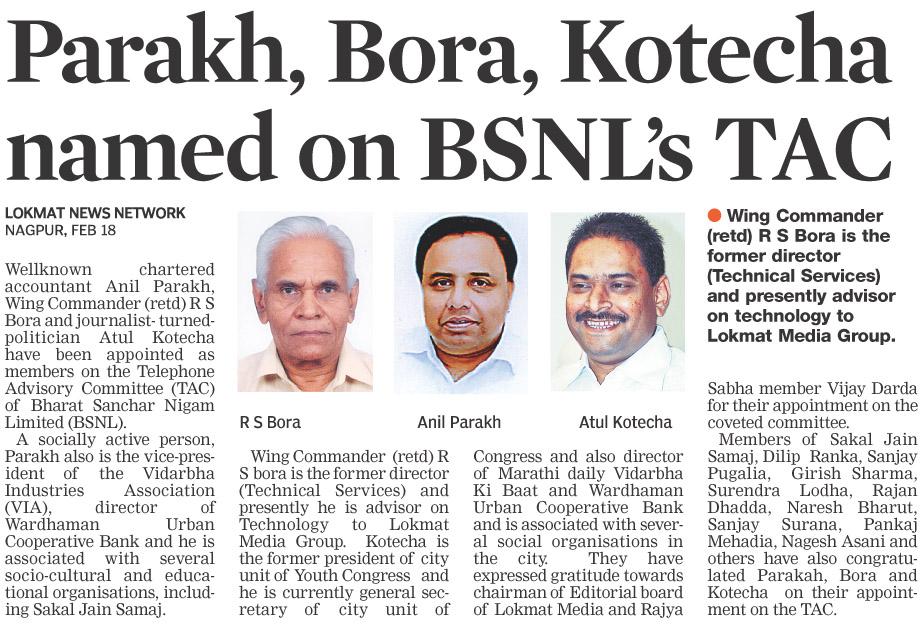 Parakh, Bora, Kotecha named on BSNL's TAC