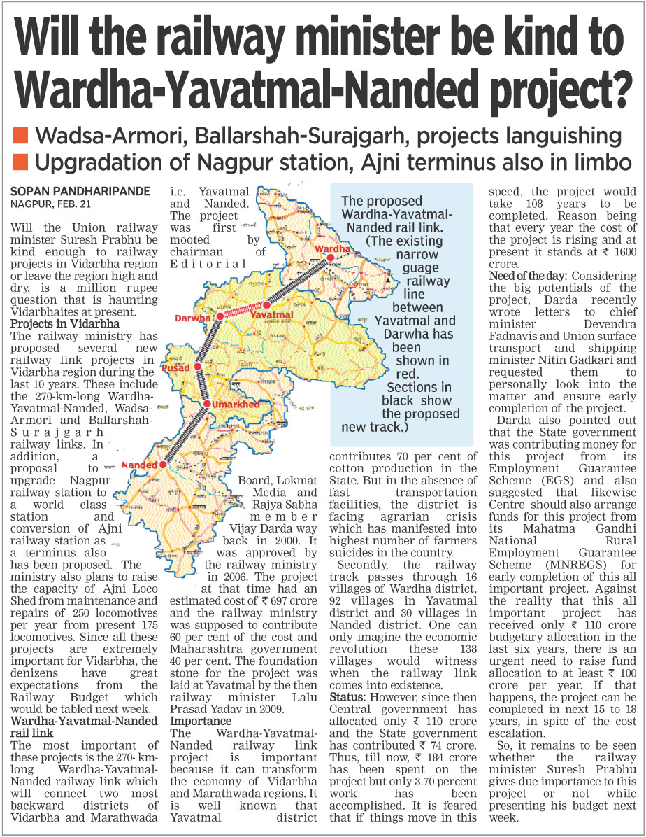 Will the railway minister be kind to Wardha-Yavatmal-Nanded project?