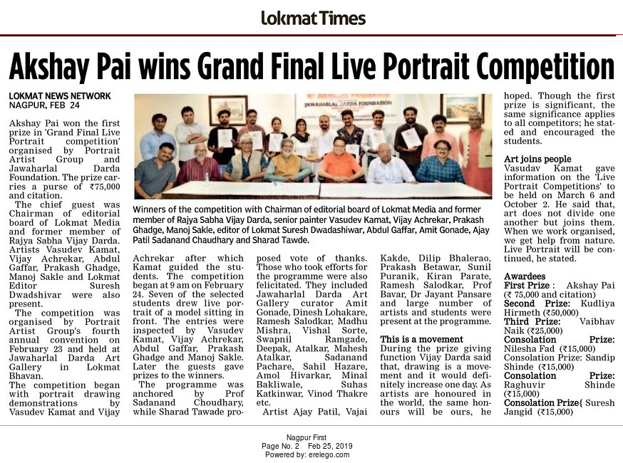 Akshay Pai wins Grand Final Live Portrait Competition