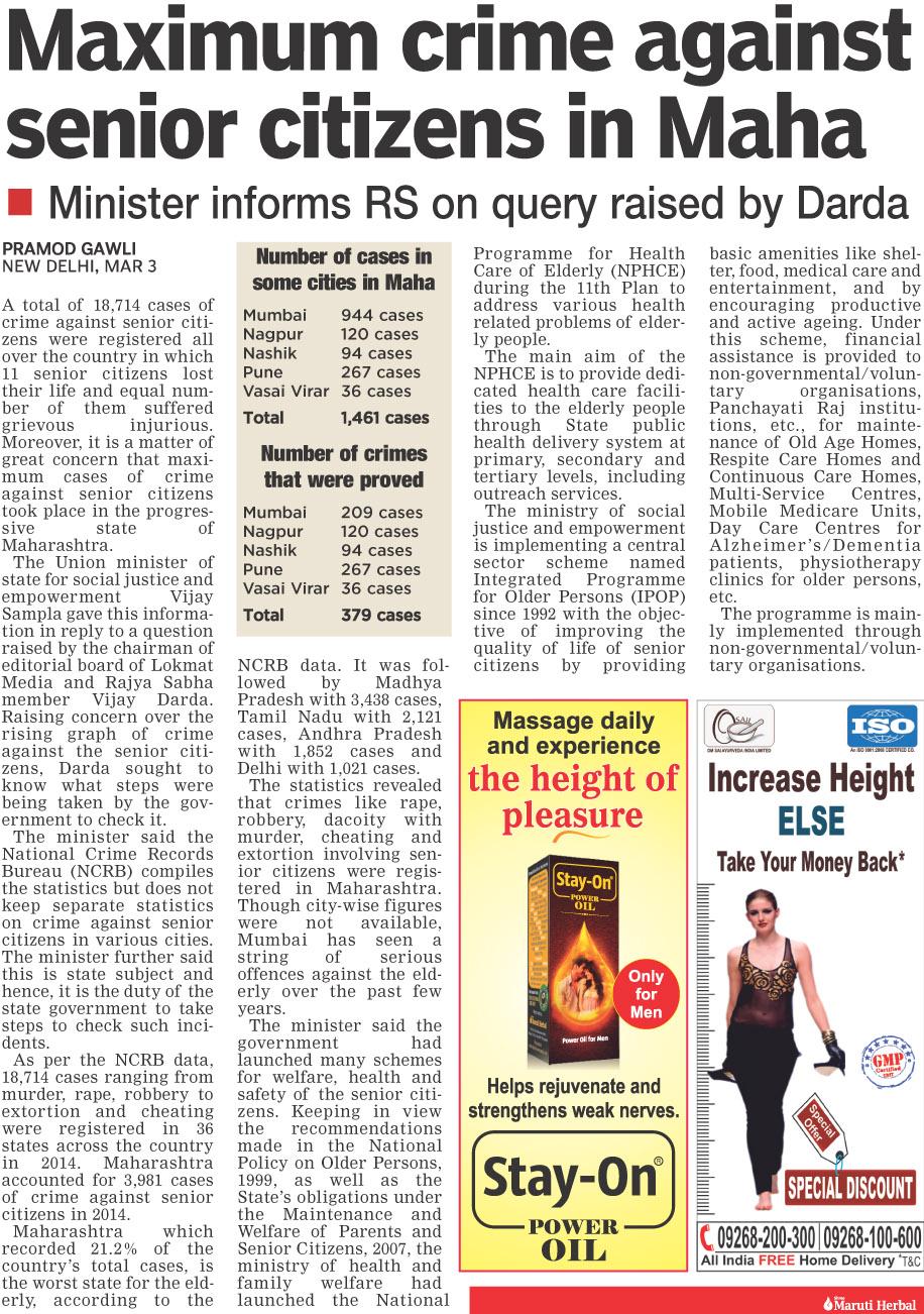 Maximum crime against senior citizen in Maha