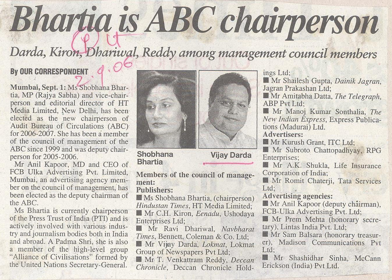 Bhartia is ABC chairperson