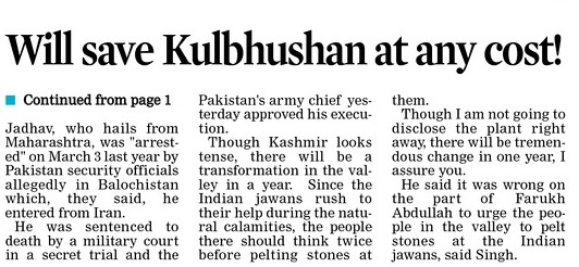 Will save Kulbhushan at any cost!