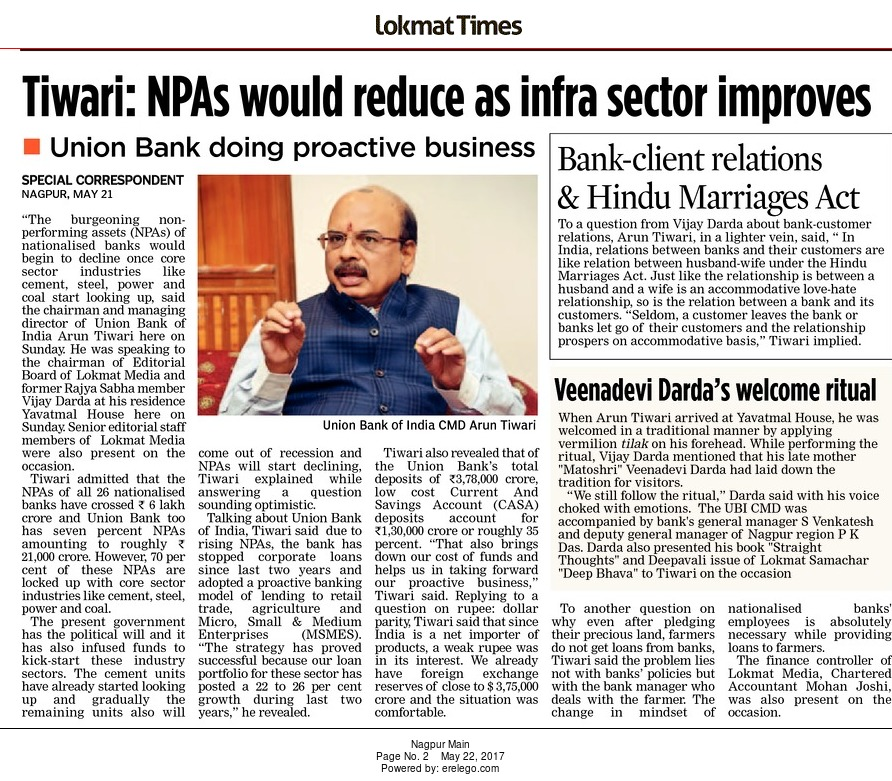 Tiwari: NPAs would reduce as infra sector improves