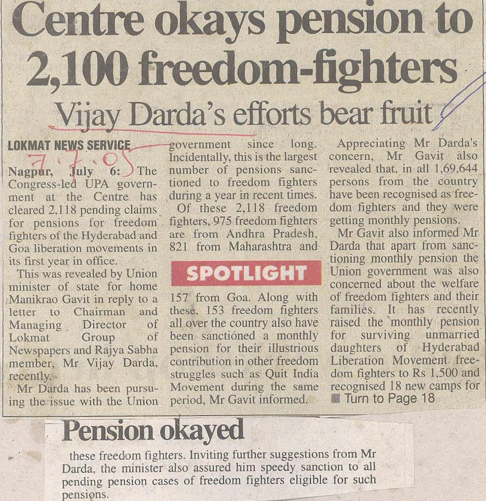 Centre okays pension to 2,100 freedom-fighters