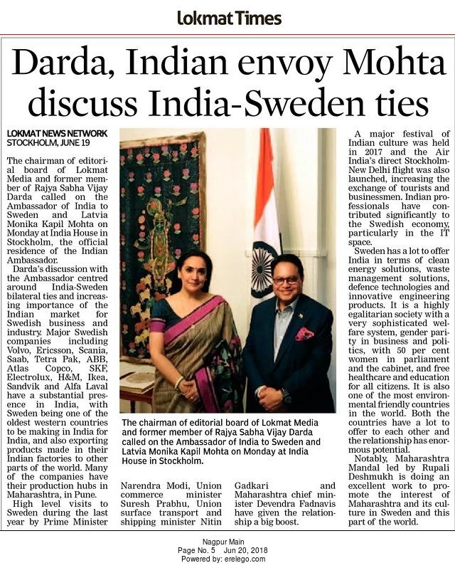 Darda, Indian envoy Mohta discuss India-Sweden ties