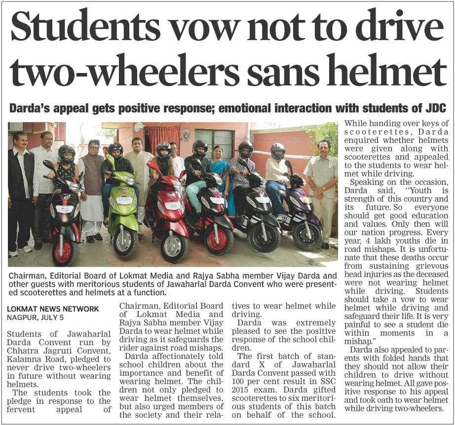 Student vow not to drive two-wheelers sans helmet