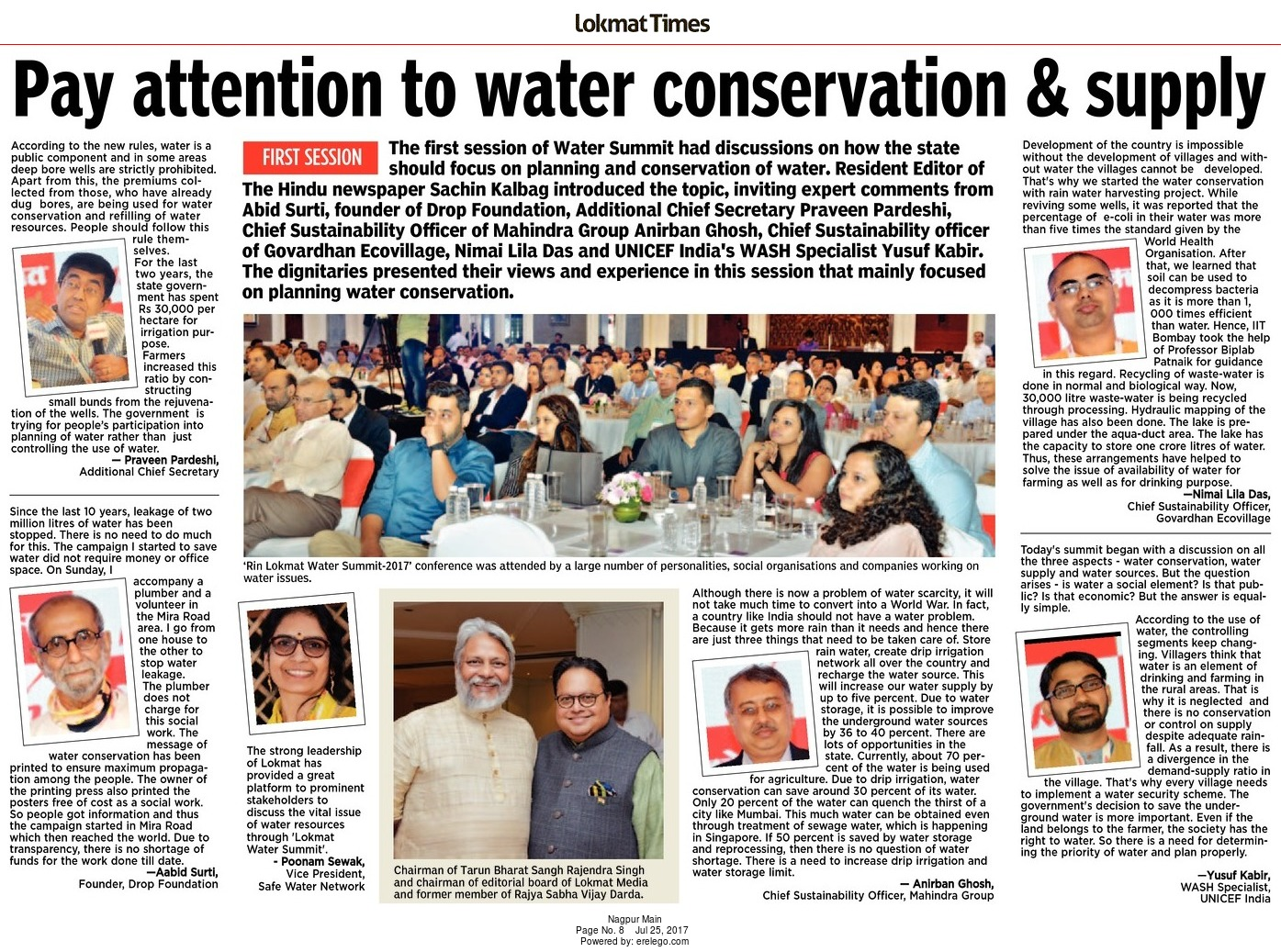 Pay attention to water conservation & supply