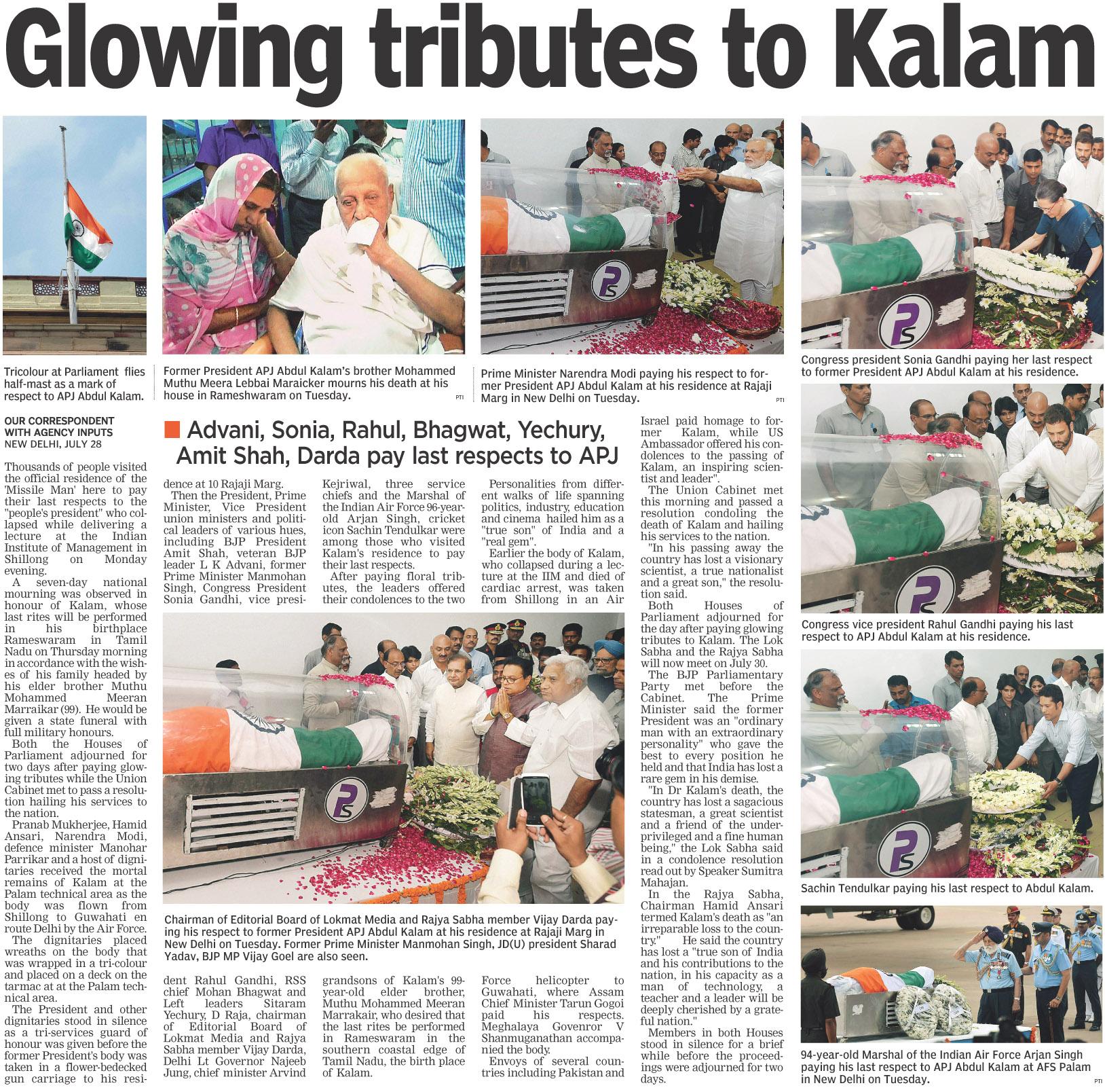 Glowing tributes to Kalam