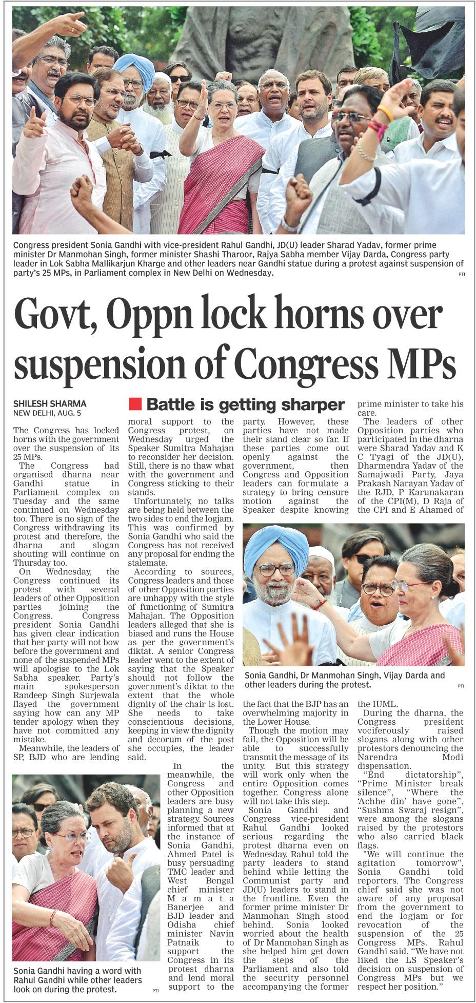 Govt, Oppn lock horns over suspension of Congress MPs