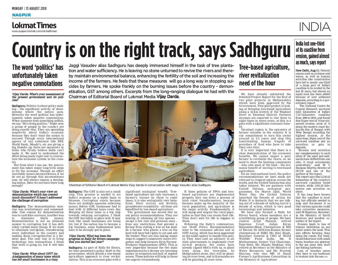 Country is on the right track, says Sadhguru