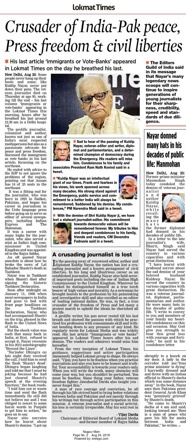 Crusader of India-Pak peace, press freedom & civil liberties