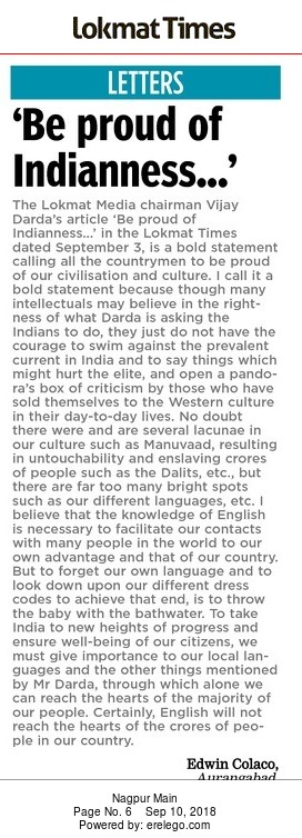 'Be proud of Indianness…'