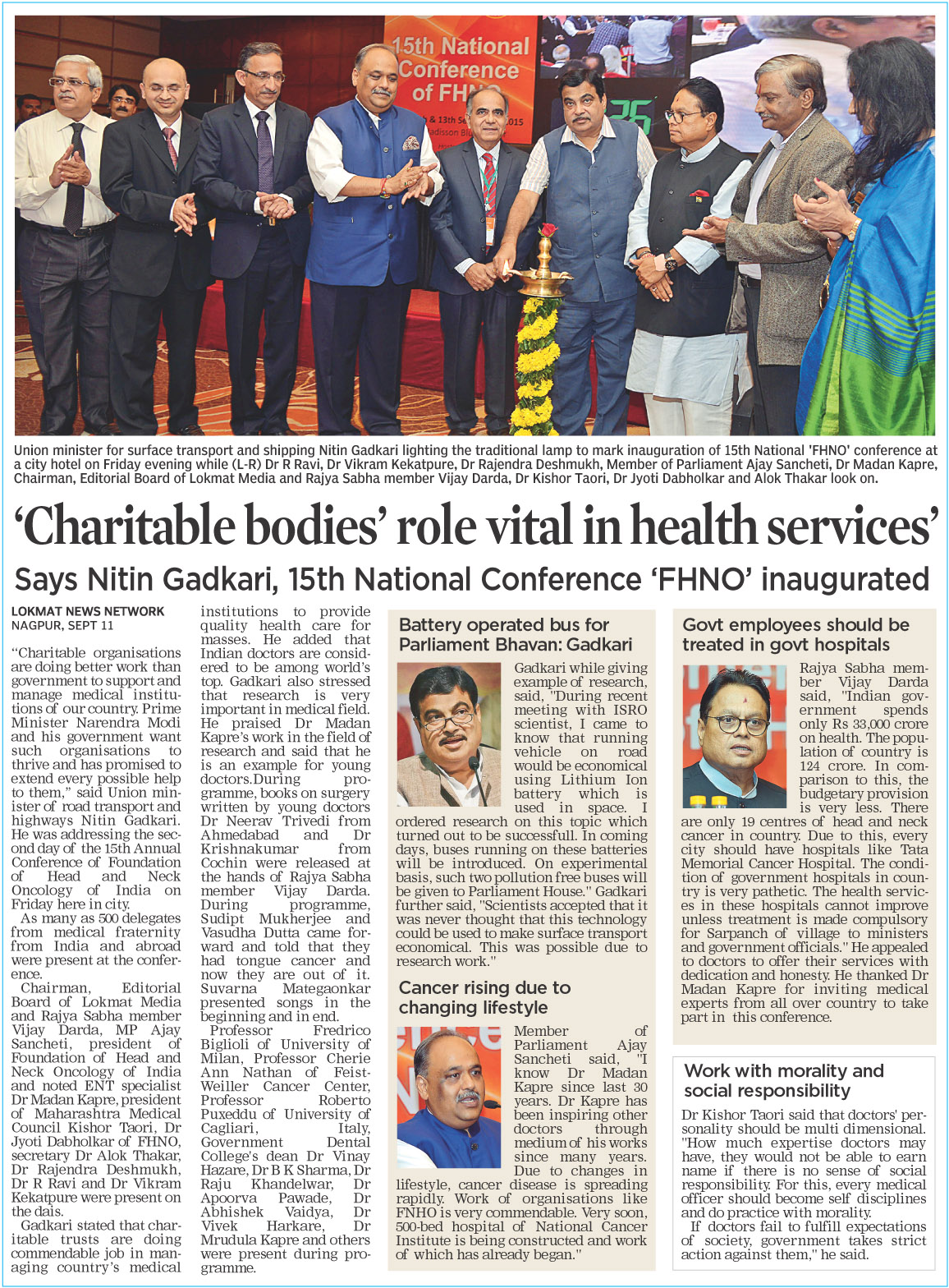 'Charitable bodies' role vital in health services'