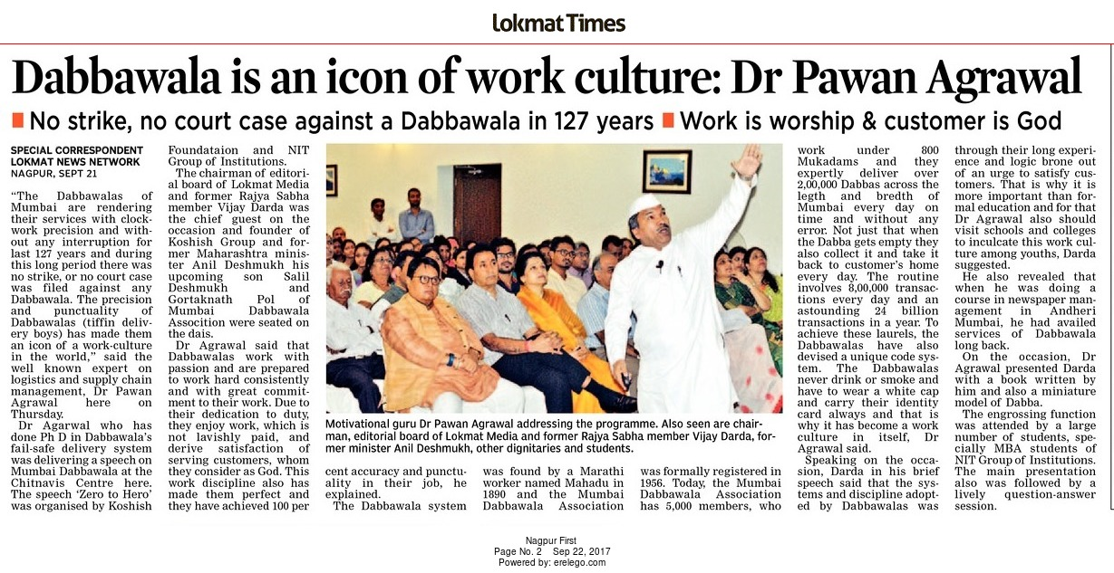 Dabbawala is an icon of work culture: Dr Pawan Agrawal