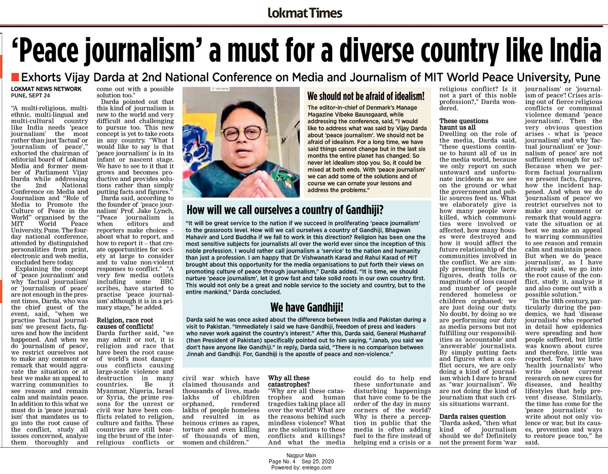 'Peace journalism' a must for a diverse country like India