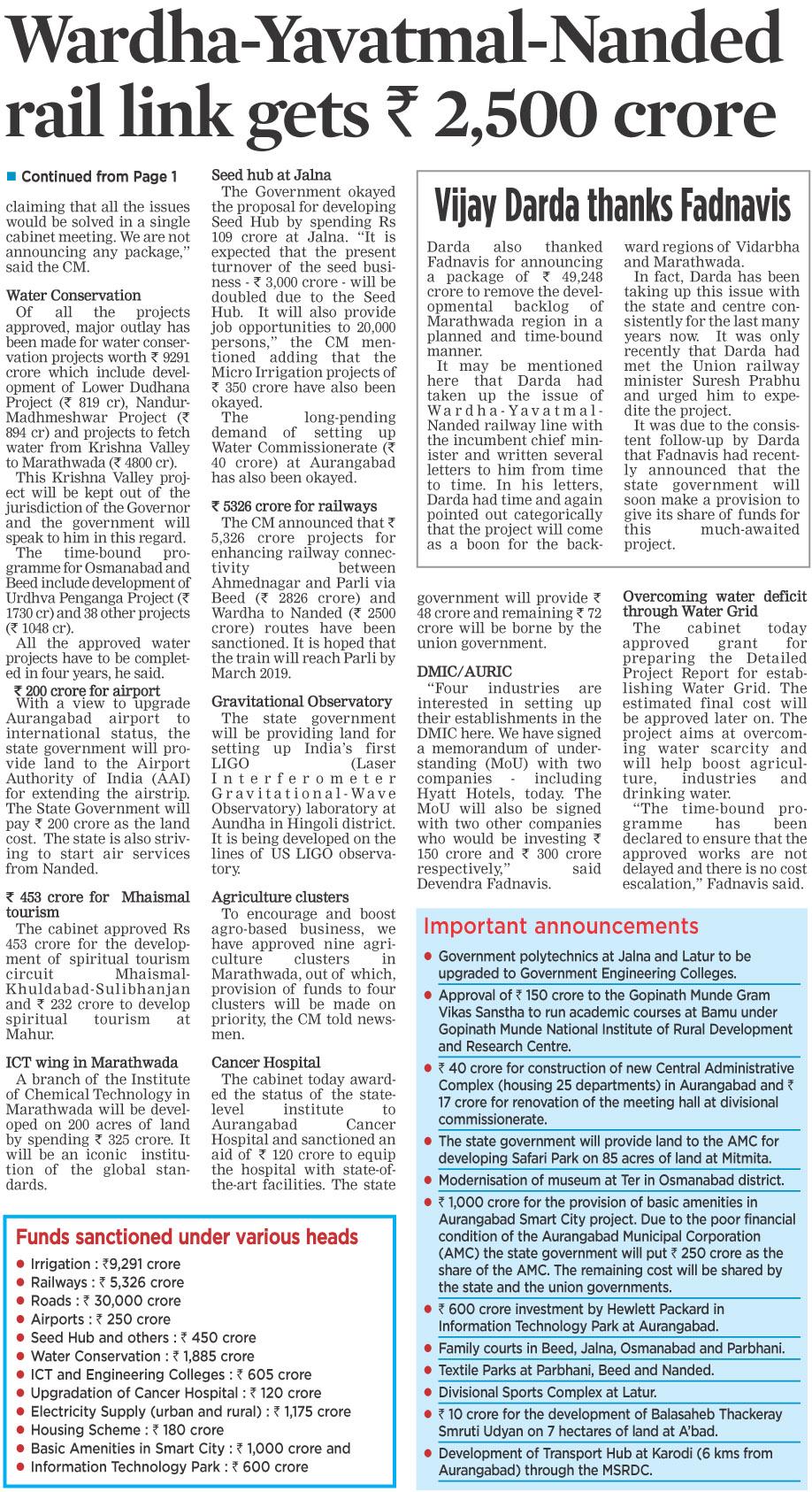 Wardha-Yavatmal-Nanded rail link gets Rs 2,500 crore