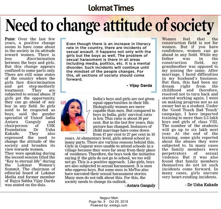 Need to change attitude of society
