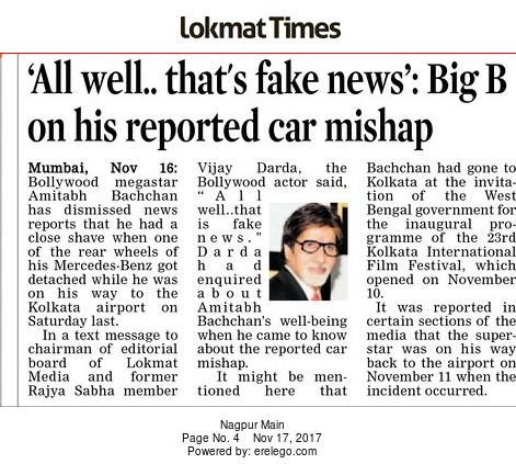 'All well… that's fake news': Big B on his reported car mishap