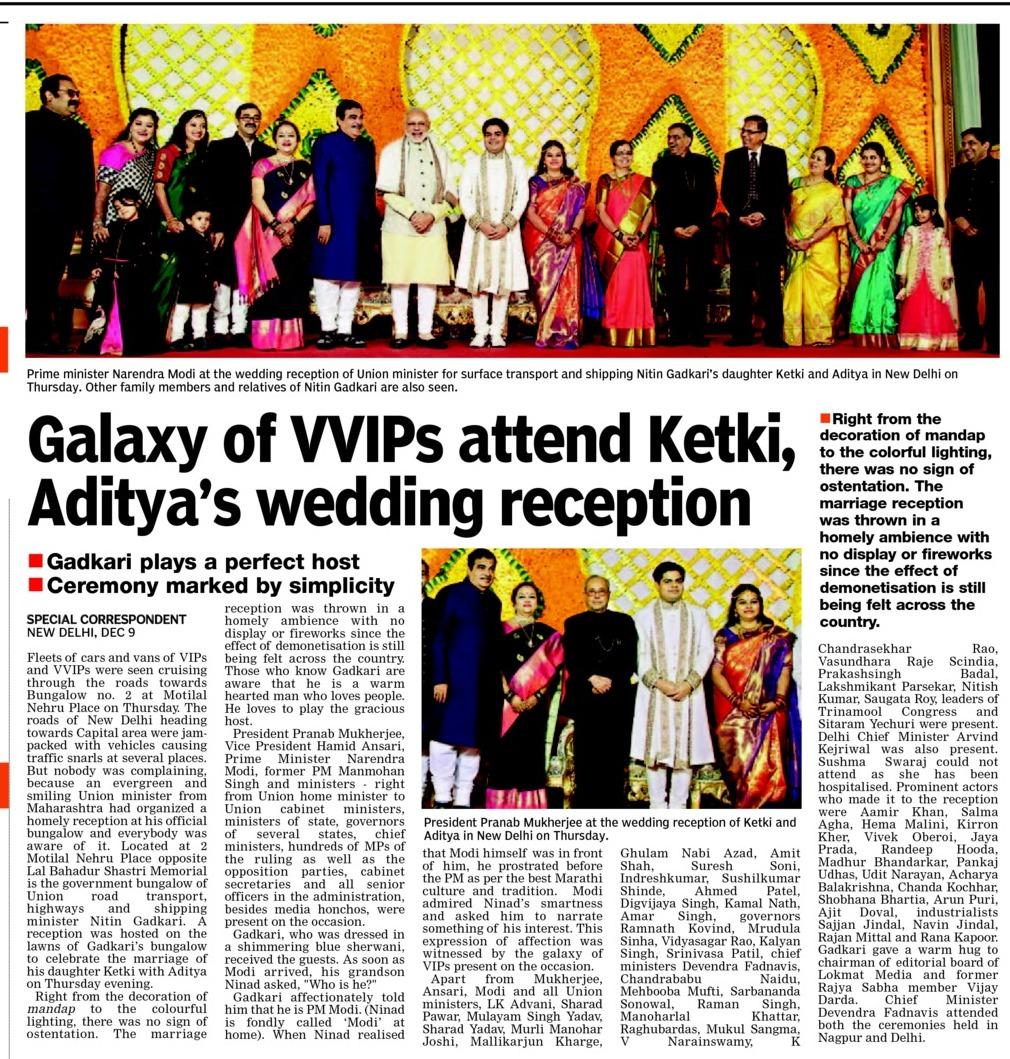 Galaxy of VVIPs attend Ketki, Aditya's wedding reception