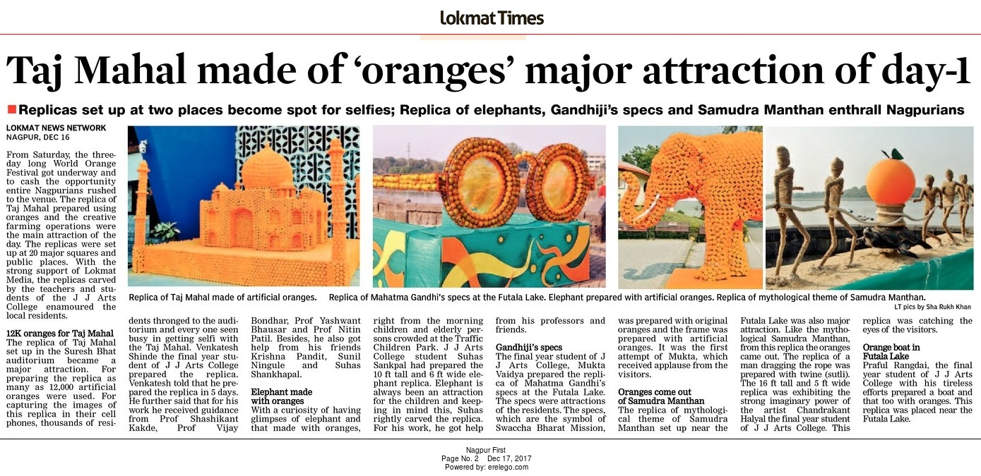 Taj Mahal made of 'oranges' major attraction of day-1