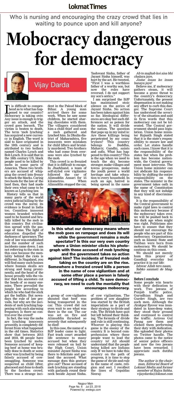 Mobocracy dangerous for democracy