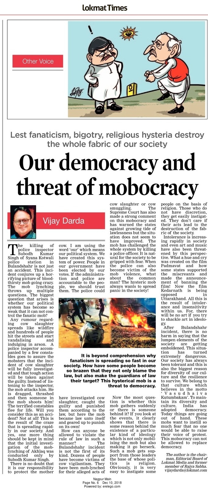 Our democracy and threat of mobocracy