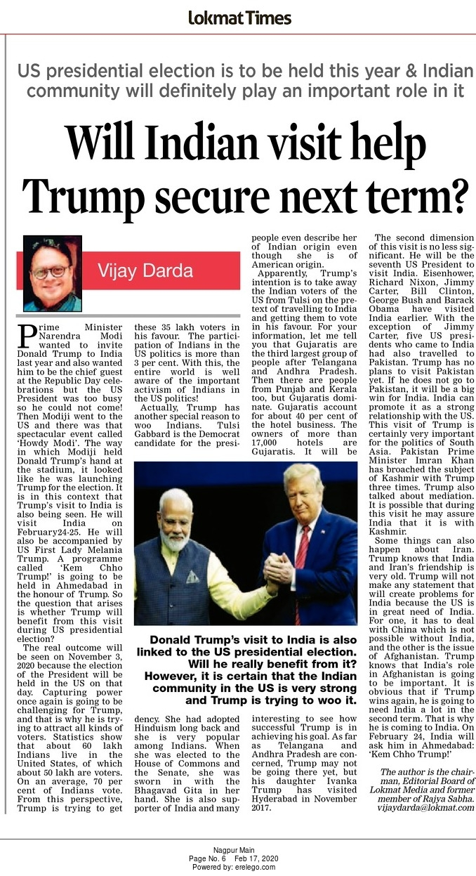 Will Indian visit help Trump secure next term?