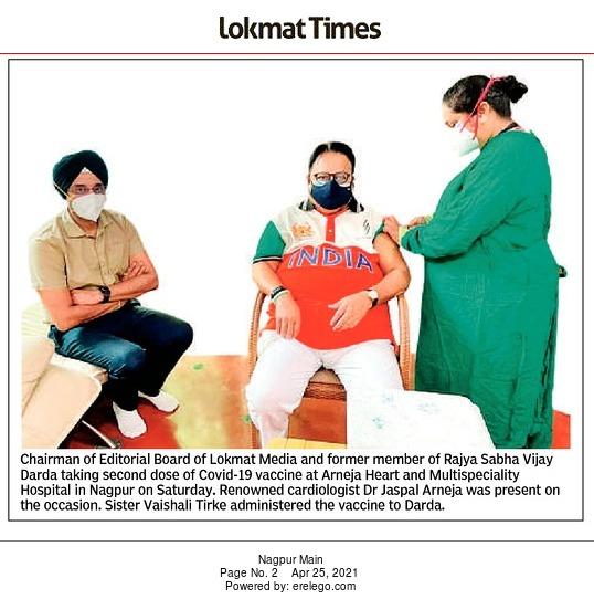 Vijay Darda taking second dose of Covid-19 vaccine