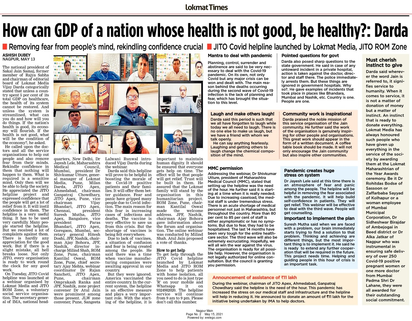 How can GDP of a nation whose health is not good, be healthy?: Darda