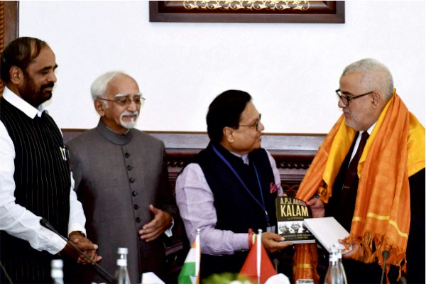 Vijay Darda presenting a book on Dr. A. P. J. Abdul Kalam to the Prime Minister of Morocco Abdelilah Benkirane in the presence of Vice-President Dr. Hamid Ansari during an official visit in 2016.